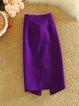 Slit Elegant Bow Solid Bodycon Skirt