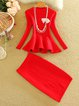 Solid Knitted Two Piece Long Sleeve Women's Set