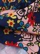 Women Casual Dress Crew Neck A-line Daytime Paneled Floral Dress