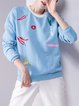 Long Sleeve Cute Embroidered Sweatshirt