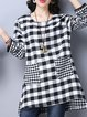 Black Long Sleeve Checkered/Plaid Pockets Tunic Top