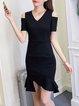 Black Women Casual Dress Cold Shoulder Flounce Party Short Sleeve Solid Dress