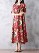 Red Women Going out Cotton Short Sleeve Buttoned Casual Dress