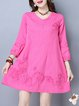 Buttoned Balloon Sleeve Crew Neck Floral Casual Dress