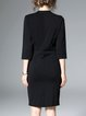 Black Stand Collar Buttoned Solid Dress