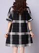Black A-line Women Daily Cotton Casual Short Sleeve Pockets Checkered/Plaid Casual Dress