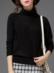 Long Sleeve Cowl Neck Knitted Solid Sweater