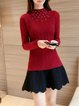 Solid Beaded Casual Knitted Sweater