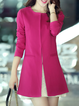 Pockets Long Sleeve Solid Casual Crew Neck Coat