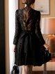 Keyhole Black A-line Women Prom Sexy Lace Guipure lace Floral Elegant Dress