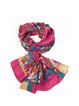 Red Silk Abstract Casual Scarf