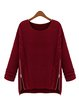 Zipper Knitted Long Sleeve Solid Crew Neck Sweater