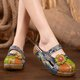 Dark Blue Flower Mid-Calf Women's Slip-On Slippers