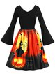 Halloween Animal V Neck Vintage Bell Sleeve A-Line Dress