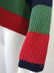 Crew Neck Plus Size Multi-Color Striped Knitted Sweater