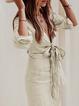 V neck Gray Shift Women Daily Linen Long Sleeve Bandage Solid Spring Dress