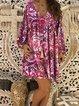 Floral Long Sleeve Vintage Dress