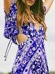 V neck   Women Daily Half Sleeve Boho Paneled Floral Floral Dress