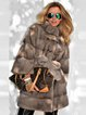 Plus Size Stand Collar Mid Pattern Faux Fur Leather With Belt Winter Coat