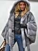 Gray Long Sleeve Faux Fur Hoodie Solid Coats