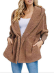 Wool Fuzzy Cashmere Ribbed Cuffs Sleeve Coats with Pockets