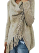 H-line Long Sleeve Plain Knitted Fringed Cardigan