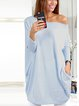 Off Shoulder Women Casual Dresses Shift Daily Knitted Solid Dresses