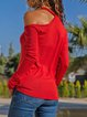 Cotton-Blend Long Sleeve Halter Cutout T-Shirts