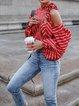 Red Halter Striped Balloon Sleeve Shirt