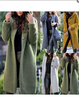 Casual Paneled Knitted Winter Warm Cardigans With Hoodie