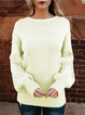 Casual Knitted Round Neck Winter Backless Solid Sweater