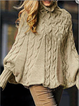 Solid Knitted Batwing Stand Collar Casual Plus Size Sweaters