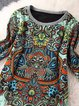 Women Vintage Long Sleeve Printed Tribal Casual Dress