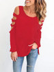 Cutout Long Sleeve Casual Solid Cold Shoulder T-Shirt