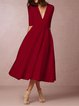 Women Deep V Neck 3/4 Sleeve Paneled Solid Elegant Swing Prom Dress