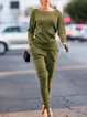 2 Pcs Long Sleeve Casual Knitted Sweaters Pockets Pants Suit Set