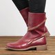 Women Distressed Ankle Boots Pointed Western Style Leather Boots