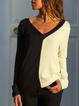 Black Long Sleeve Vintage V Neck T-Shirts