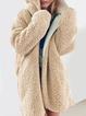 Pockets Hoodie Casual Faux fur Winter Solid Teddy Bear Coat