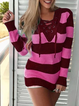 Stripes Casual Knit Wear Women's Pullover Jumper Sweaters