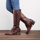 Women Vintage Tassel Knot Knee High Boots Chunky Heel Boots