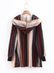Appliqued Long Sleeve Cotton Casual Striped Plush Hooded Cardigan Coat for Women