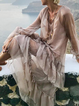 V neck  Women Daily Frill Sleeve Casual Paneled Solid Spring Dress