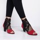 Plus Size  Chunky Heel Booties Casual Lace Peep Toe Boots with Zipper