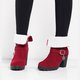 Red Slip-On Ankle Women's Chunky Heel Suede Boots