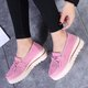 Women Artificial Nubuck Casual Slip On Creepers Bowknot Tassel Shoes