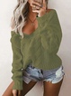 Solid Cotton-blend Sexy Plus Size Knitted Sweater