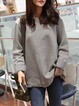 Light Gray Folds Long Sleeve High Low Paneled T-Shirt