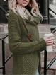 Solid Buttoned Long Sleeve Knitted Turtle Neck Sweater