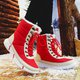 Plus Size Low Heel Lace-Up Winter Warm Snow Boots Outdoor Non-slip Shoes